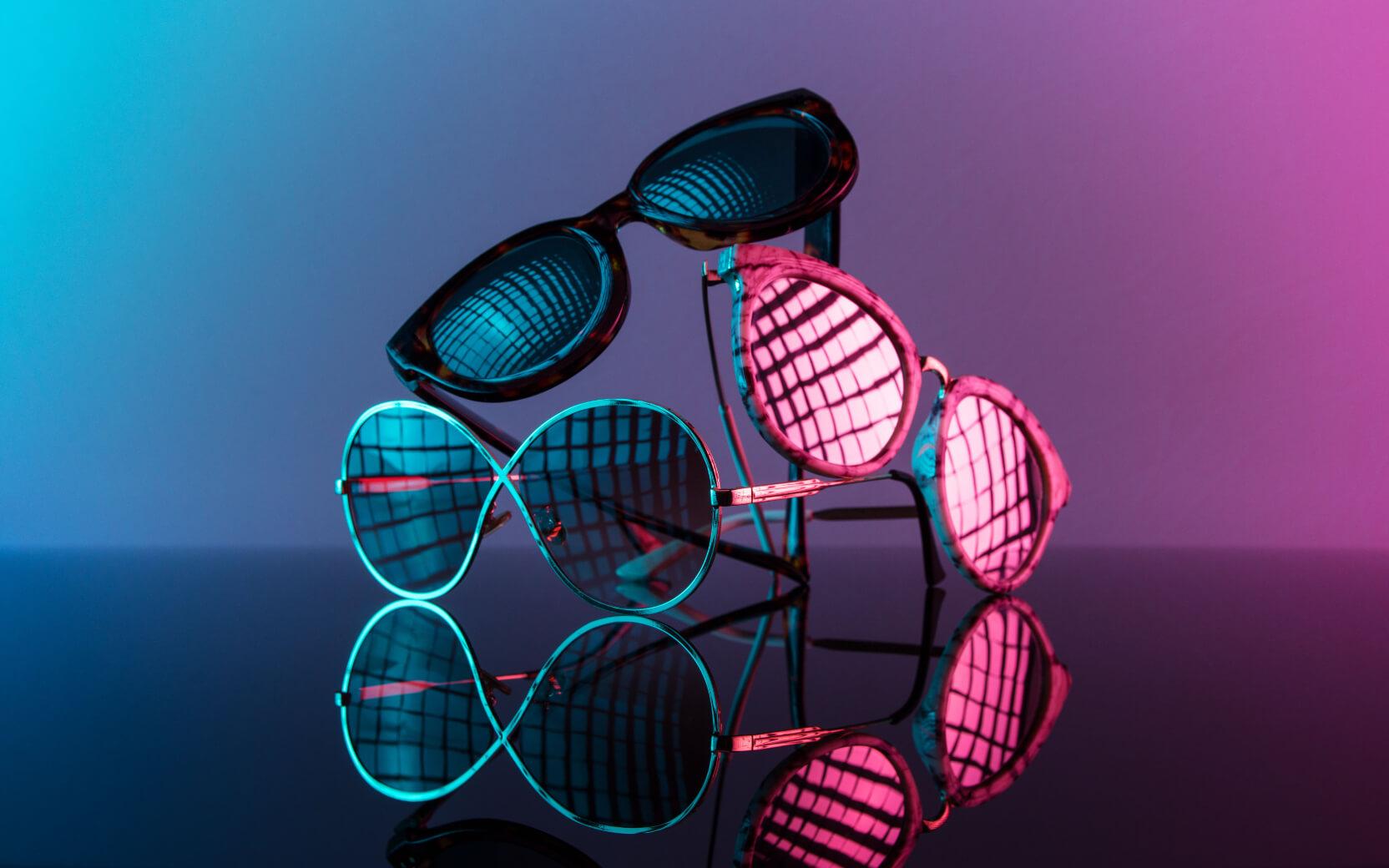 Produktfoto von mehreren Sonnenbrillen